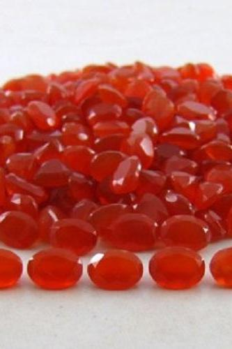 Natural Carnelian 8x6mm Faceted Cut Oval 2 Pieces Lot Orange Color - Natural Loose Gemstone