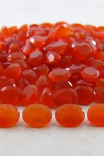 Natural Carnelian 10x8mm Faceted Cut Oval 2 Pieces Lot Orange Color - Natural Loose Gemstone