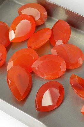 Natural Carnelian 6x4mm Faceted Cut Pear 2 Pieces Lot Orange Color - Natural Loose Gemstone