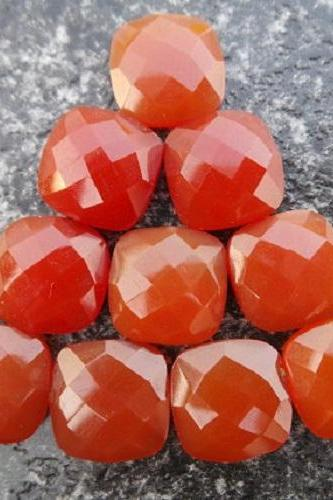 Natural Carnelian 8x6mm Faceted Cut Cushan 25 Pieces Lot Orange Color - Natural Loose Gemstone