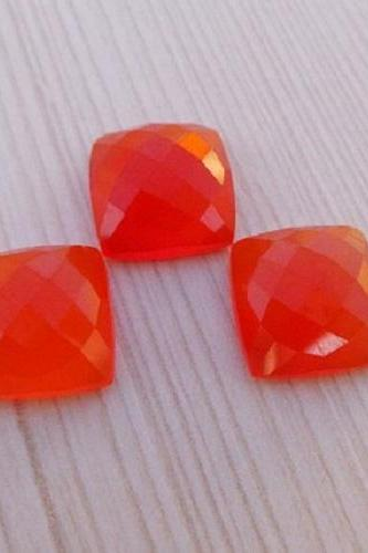 Natural Carnelian 10x8mm Faceted Cut Cushan 2 Pieces Lot Orange Color - Natural Loose Gemstone