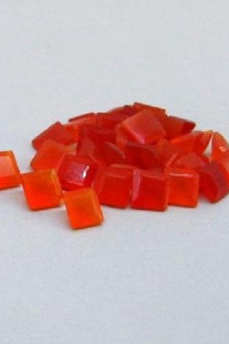Natural Carnelian 7mm Faceted Cut Square 5 Pieces Lot Orange Color - Natural Loose Gemstone