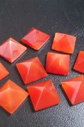 Natural Carnelian 9mm Faceted Cut Square 2 Pieces Lot Orange Color - Natural Loose Gemstone