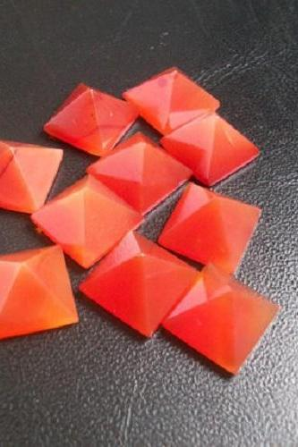 Natural Carnelian 10mm Faceted Cut Square 10 Pieces Lot Orange Color - Natural Loose Gemstone