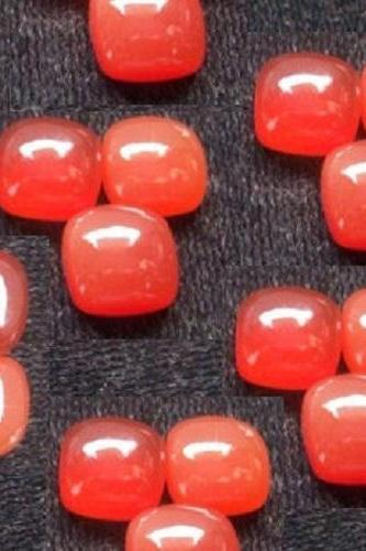 Natural Carnelian 9x11mm Cabochon Cut Cushan 10 Pieces Lot Orange Color - Natural Loose Gemstone