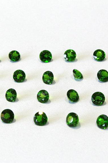 Natural Chrome Diopside- 3mm 2 Pieces Lot Faceted Round Calibrated Size Green Color - Loose Gemstone