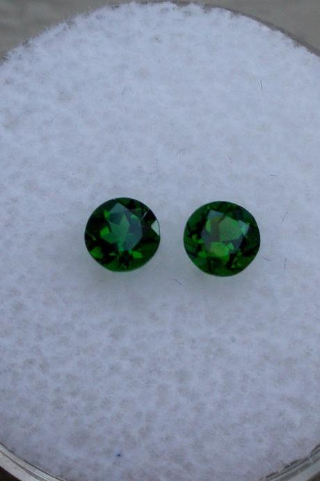 Natural Chrome Diopside- 5mm 1 Pieces Lot Faceted Round Calibrated Size Green Color - Loose Gemstone