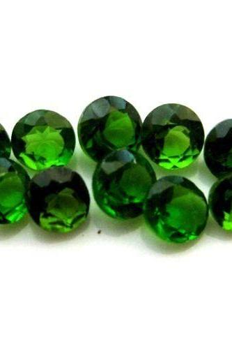 Natural Chrome Diopside- 7mm 2 Pieces Lot Faceted Round Calibrated Size Green Color - Loose Gemstone