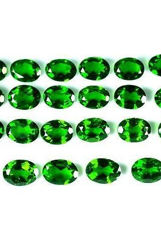 Natural Chrome Diopside- 3x5mm 10 Pieces Lot Faceted Oval Calibrated Size Green Color - Loose Gemstone