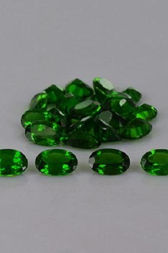 Natural Chrome Diopside- 6x4mm 50 Pieces Lot Faceted Oval Calibrated Size Green Color - Loose Gemstone