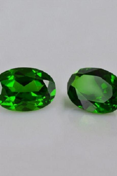 Natural Chrome Diopside- 7x5mm 2 Pieces Lot Faceted Oval Calibrated Size Green Color - Loose Gemstone