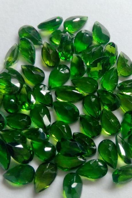 Natural Chrome Diopside- 3x4mm 50 Pieces Lot Faceted Pear Calibrated Size Green Color - Loose Gemstone