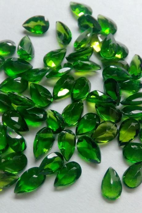 Natural Chrome Diopside- 3x5mm 25 Pieces Lot Faceted Pear Calibrated Size Green Color - Loose Gemstone