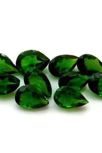 Natural Chrome Diopside- 6x4mm 10 Pieces Lot Faceted Pear Calibrated Size Green Color - Loose Gemstone