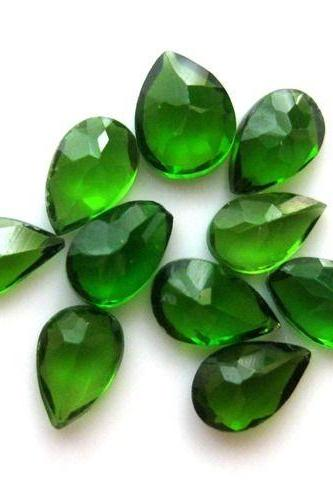 Natural Chrome Diopside- 7x5mm 10 Pieces Lot Faceted Pear Calibrated Size Green Color - Loose Gemstone