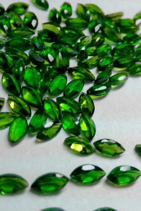 Natural Chrome Diopside- 2.5x5mm 50 Pieces Lot Faceted Marquise Calibrated Size Green Color - Loose Gemstone