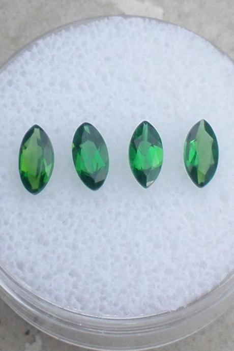 Natural Chrome Diopside- 3x6mm 2 Pieces Lot Faceted Marquise Calibrated Size Green Color - Loose Gemstone