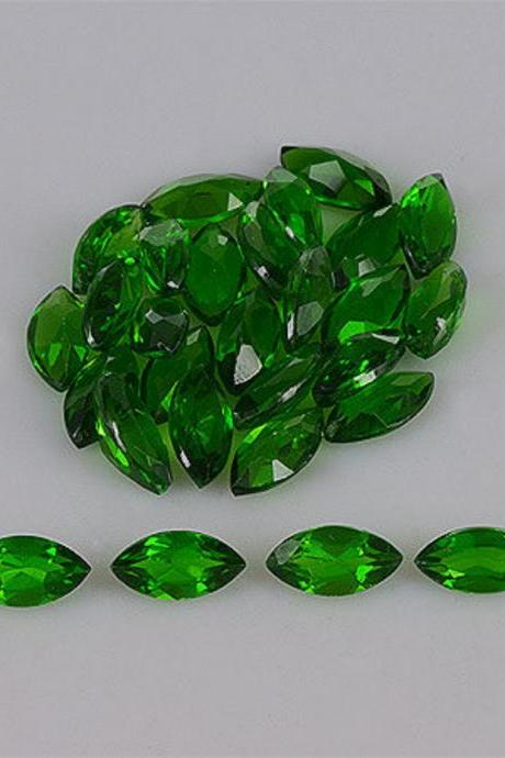 Natural Chrome Diopside- 5x10mm 25 Pieces Lot Faceted Marquise Calibrated Size Green Color - Loose Gemstone