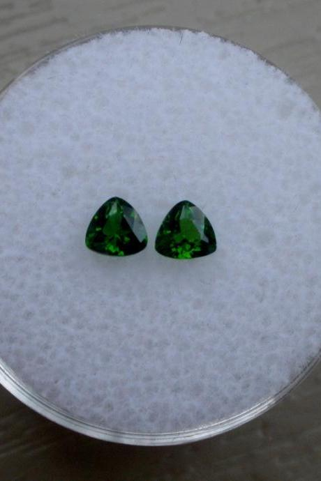 Natural Chrome Diopside- 6mm 2 Pieces Lot Faceted Trillion Calibrated Size Green Color - Loose Gemstone
