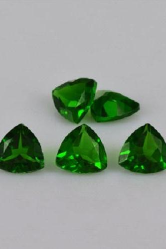 Natural Chrome Diopside- 5mm 50 Pieces Lot Faceted Trillion Calibrated Size Green Color - Loose Gemstone