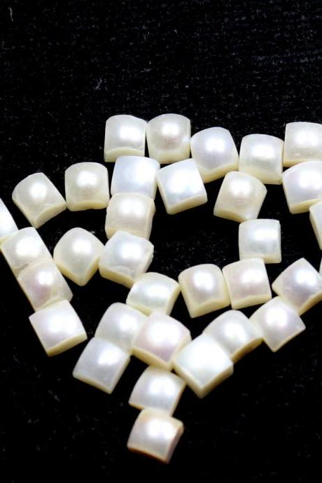 8mm Natural Fresh Water White Pearl - Half Cut Flat Back Cabochon Square 25 Pieces Top Quality White Pearl - Loose Gemstone Wholesale Lot For Sale