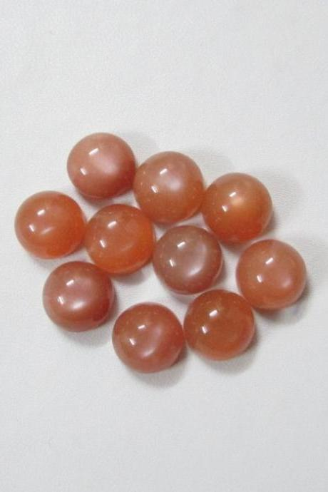 11mm Natural Peach Moonstone Cabochon Round 10 Pieces Lot Top Quality Gray Color Loose Gemstone Wholesale Lot For Sale