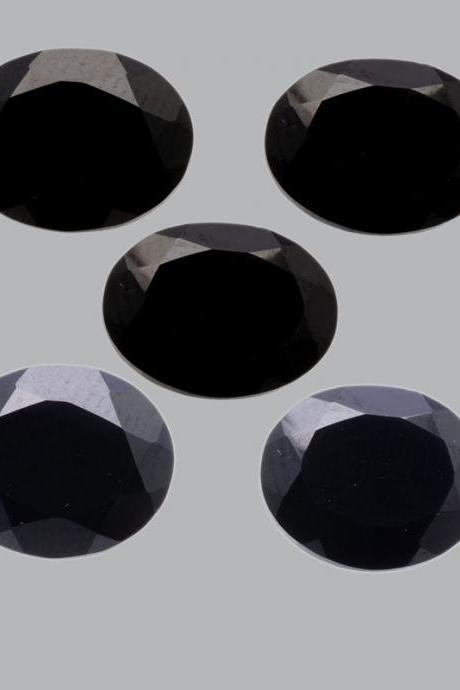 10x14mm Natural Black Spinel Faceted Cut Oval 5 Pieces Lot Top Quality Black Color Loose Gemstone Wholesale Lot For Sale