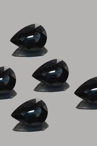 18x13mm Natural Black Spinel Faceted Cut Pear 5 Pieces Lot Top Quality Black Color Loose Gemstone Wholesale Lot For Sale