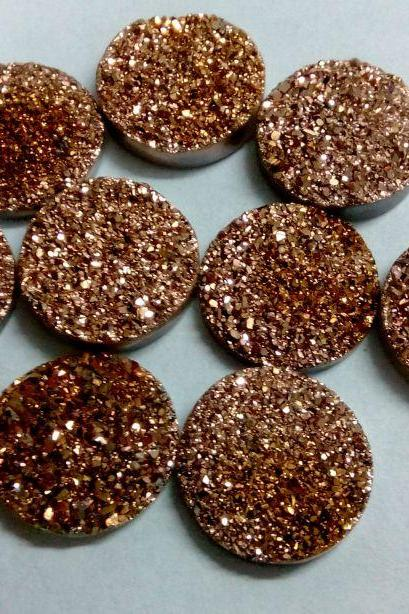 11mm Natural Rose Gold Color Coating Flat Druzy 10 Pieces Lot Round Best Top Rose Gold Color Loose Gemstone Wholesale Lot For Sale