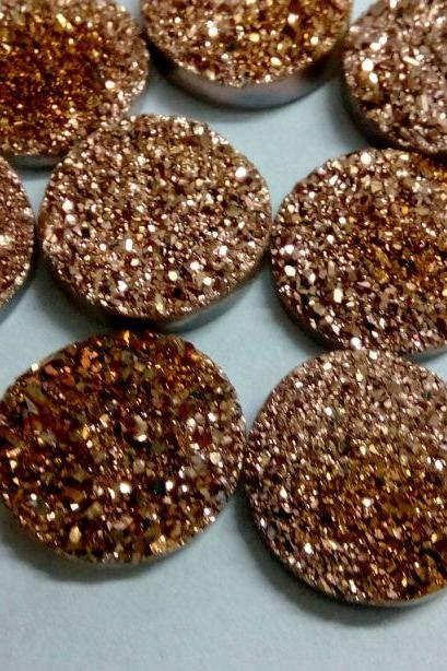 15mm Natural Rose Gold Color Coating Flat Druzy 100 Pieces Lot Round Best Top Rose Gold Color Loose Gemstone Wholesale Lot For Sale