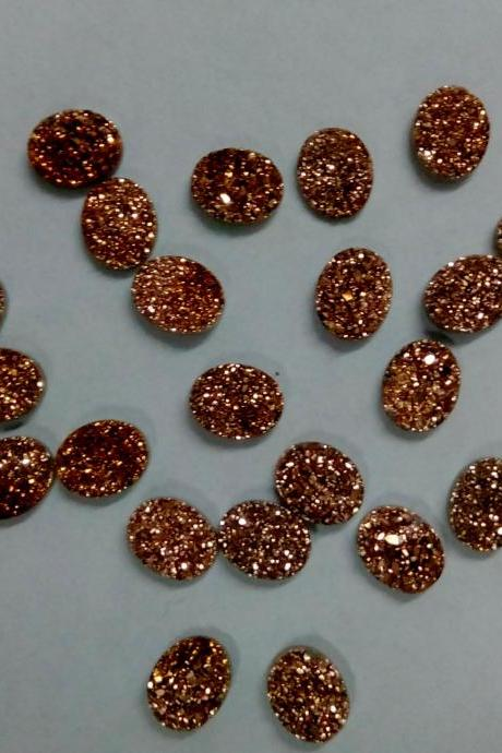 8x6mm Natural Rose Gold Color Coating Flat Druzy 10 Pieces Lot Oval Best Top Rose Gold Color Loose Gemstone Wholesale Lot For Sale