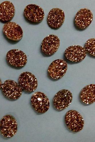 9x11mm Natural Rose Gold Color Coating Flat Druzy 50 Pieces Lot Oval Best Top Rose Gold Color Loose Gemstone Wholesale Lot For Sale