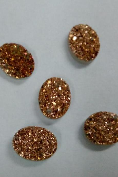 10x14mm Natural Rose Gold Color Coating Flat Druzy 2 Pieces Lot Oval Best Top Rose Gold Color Loose Gemstone Wholesale Lot For Sale