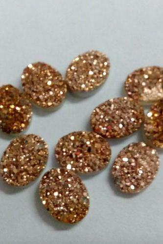 10x14mm Natural Rose Gold Color Coating Flat Druzy 100 Pieces Lot Oval Best Top Rose Gold Color Loose Gemstone Wholesale Lot For Sale