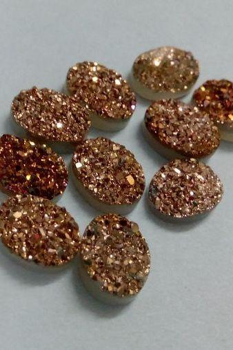 16x12mm Natural Rose Gold Color Coating Flat Druzy 50 Pieces Lot Oval Best Top Rose Gold Color Loose Gemstone Wholesale Lot For Sale