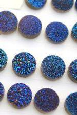 7mm Natural Blue Druzy Color Coating Flat Druzy 2 Pieces Lot Round Best Top Blue Druzy Color Loose Gemstone Wholesale Lot For Sale