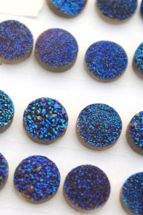 10mm Natural Blue Druzy Color Coating Flat Druzy 2 Pieces Lot Round Best Top Blue Druzy Color Loose Gemstone Wholesale Lot For Sale