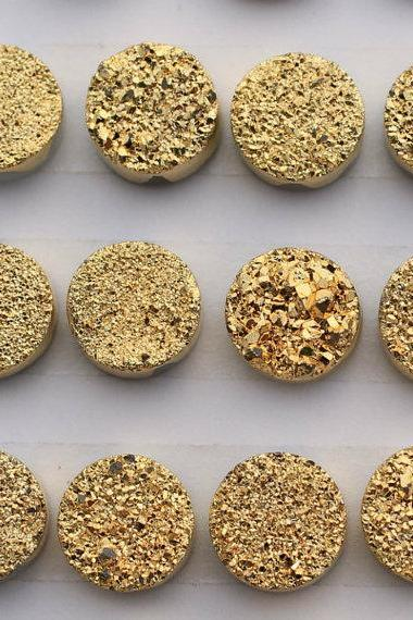 10mm Natural Gold Druzy Color Coating Flat Druzy 100 Pieces Round Best Top Gold Druzy Color Loose Gemstone Wholesale Lot For Sale