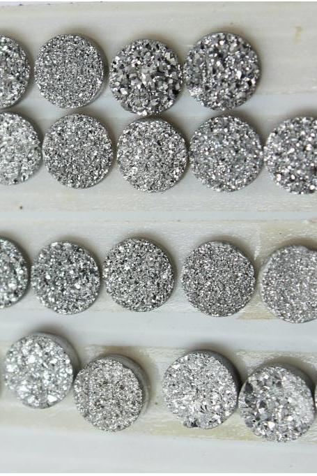 7mm Natural Sliver Druzy Color Coating Flat Druzy 2 Pieces Round Best Top Gold Druzy Color Loose Gemstone Wholesale Lot For Sale