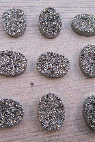 7x9mm Natural Sliver Druzy Color Coating Flat Druzy 2 Pieces Oval Best Top Gold Druzy Color Loose Gemstone Wholesale Lot For Sale