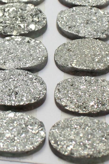 10x14mm Natural Sliver Druzy Color Coating Flat Druzy 10 Pieces Oval Best Top Gold Druzy Color Loose Gemstone Wholesale Lot For Sale