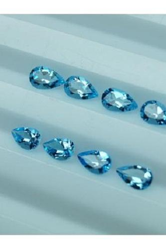 Natural Sky Blue Topaz 4x3mm 5 Pieces Lot Faceted Cut Pear Blue Color - Natural Loose Gemstone