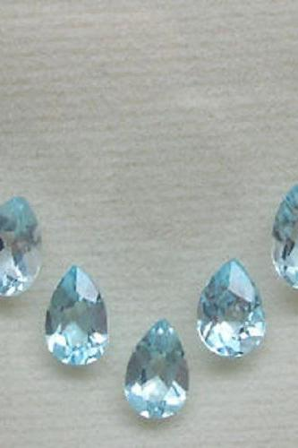 Natural Sky Blue Topaz 7x5mm 5 Pieces Lot Faceted Cut Pear Blue Color - Natural Loose Gemstone