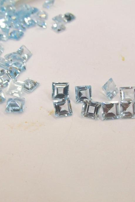 Natural Sky Blue Topaz 4mm 2 Pieces Lot Faceted Cut Square Blue Color - Natural Loose Gemstone