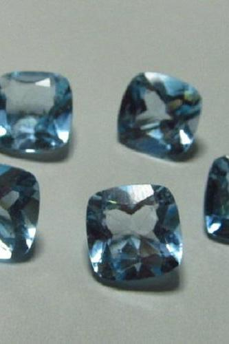 Natural Sky Blue Topaz 4mm 5 Pieces Lot Faceted Cut Cushion Blue Color - Natural Loose Gemstone