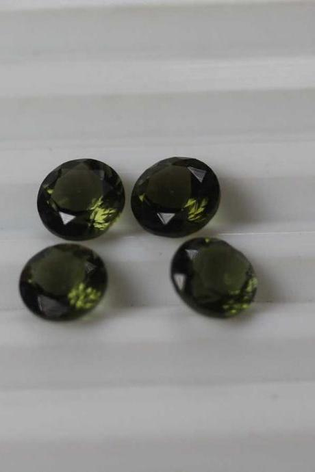 4mm Natural Moldavite Faceted Cut Round Top Quality Green Color 1 Pieces Loose Gemstone Wholesale Lot For Sale