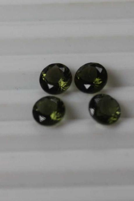 4mm Natural Moldavite Faceted Cut Round Top Quality Green Color 10 Pieces Loose Gemstone Wholesale Lot For Sale