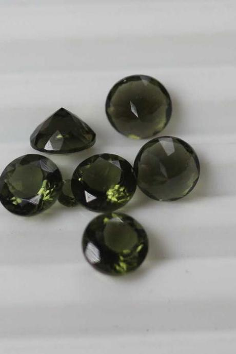 7mm Natural Moldavite Faceted Cut Round Top Quality Green Color 5 Pieces Loose Gemstone Wholesale Lot For Sale