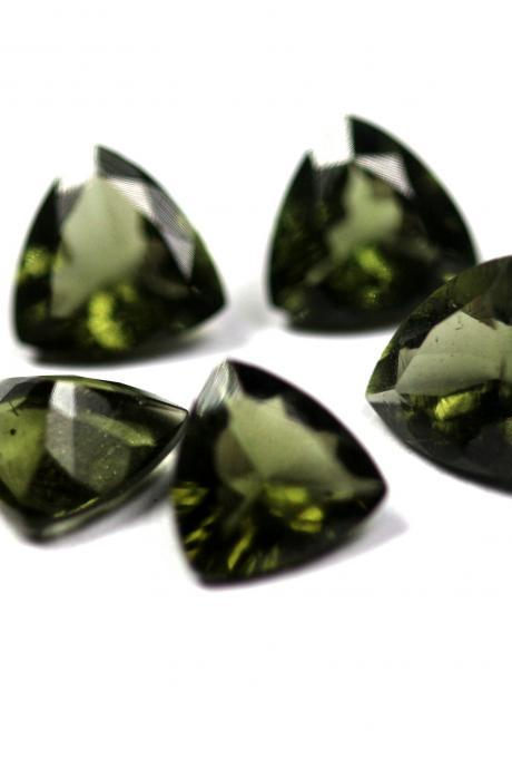 4mm Natural Moldavite Faceted Cut Trillion Top Quality Green Color 2 Piece Loose Gemstone Wholesale Lot For Sale