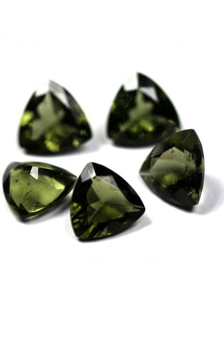 5mm Natural Moldavite Faceted Cut Trillion Top Quality Green Color 2 Piece Loose Gemstone Wholesale Lot For Sale
